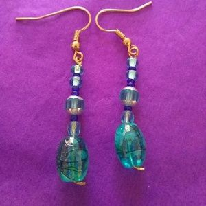 Blue glass bead dangle statement hook earrings